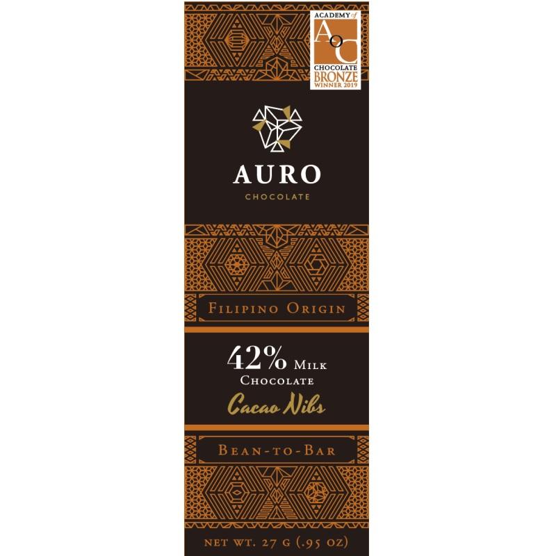 AURO Chocolate | Milchschokolade »Cocoa Nibs« 42% 27g MHD 31.10.2021
