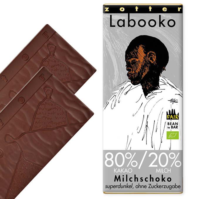 ZOTTER »Labooko« Milchschokolade 80%|20% ohne Zucker | BIO