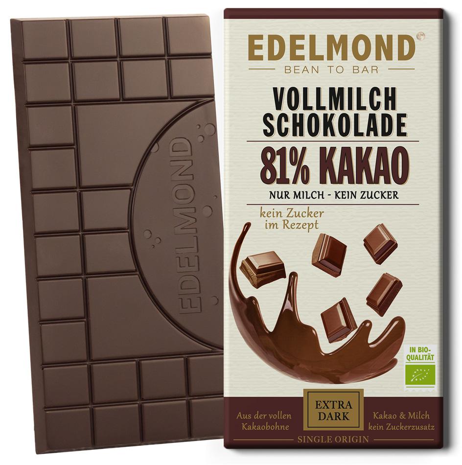 EDELMOND | Vollmilchschokolade »Nur Milch & ohne Zucker« 81% | BIO