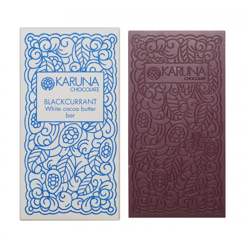 KARUNA Chocolate | White & Johannisbeeren »Blackcurrant« 39% | BIO MHD 30.11.2021