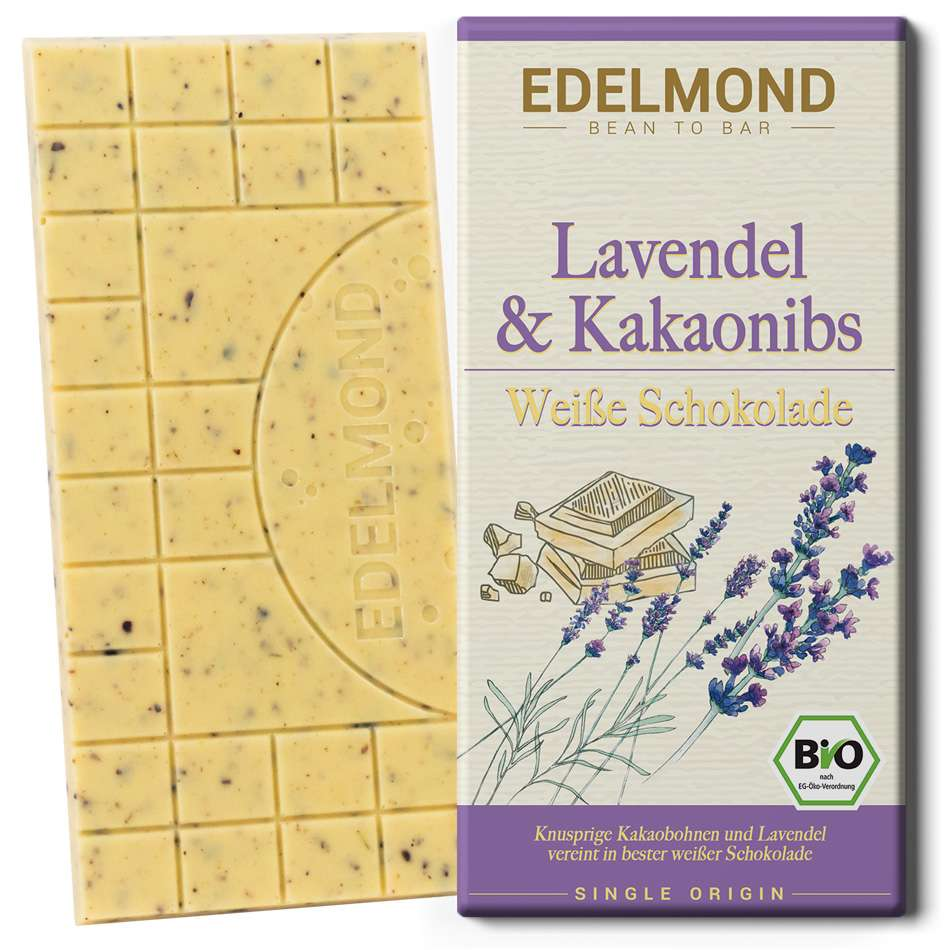 EDELMOND | Weiße Schokolade »Lavendel & Nibs« 40% | BIO