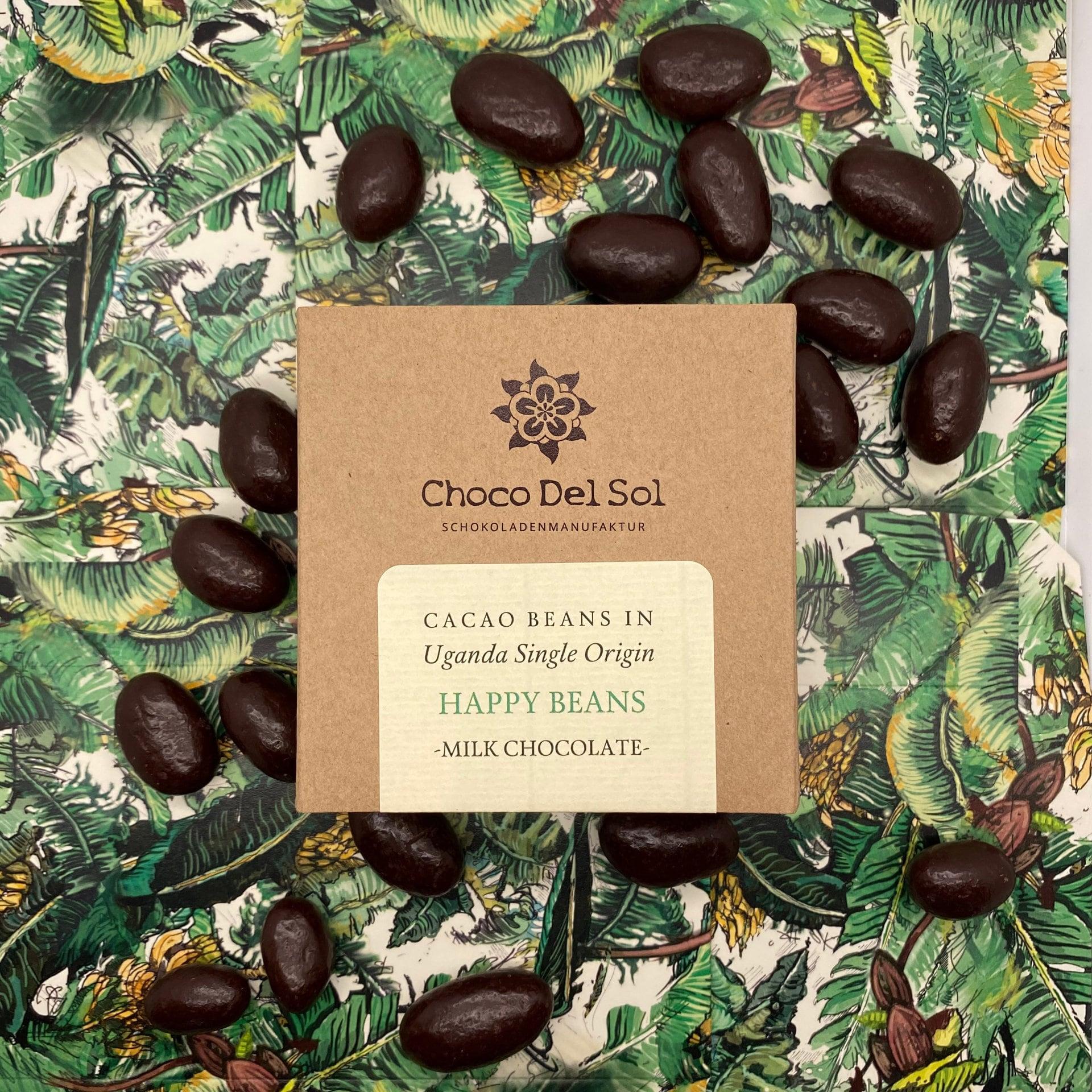 CHOCO DEL SOL | Schokoladendragees Kakaobohnen & Milchschokolade »Happy Beans Milk« 55% | BIO