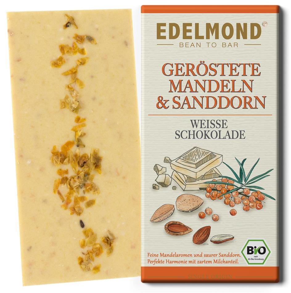 EDELMOND | Weisse Schokolade »Mandelröstung & Sanddorn« BIO