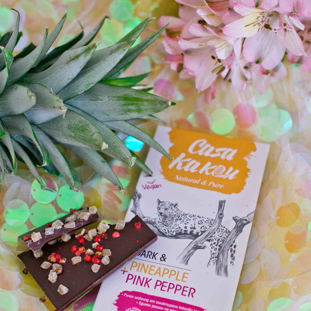 CASA KAKAU | Dunkle Schokolade »Pineapple & Pink Pepper« 70%