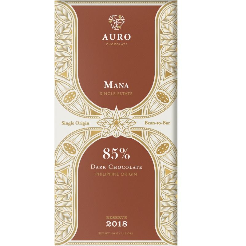 AURO Chocolate   Dunkle Schokolade »Mana« 85% 60g MHD 12.11.2021