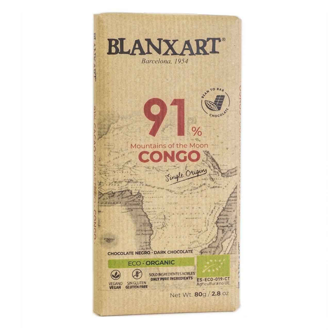 BLANXART   Schokolade »Mountains of the Moon« CONGO 91% - 80g