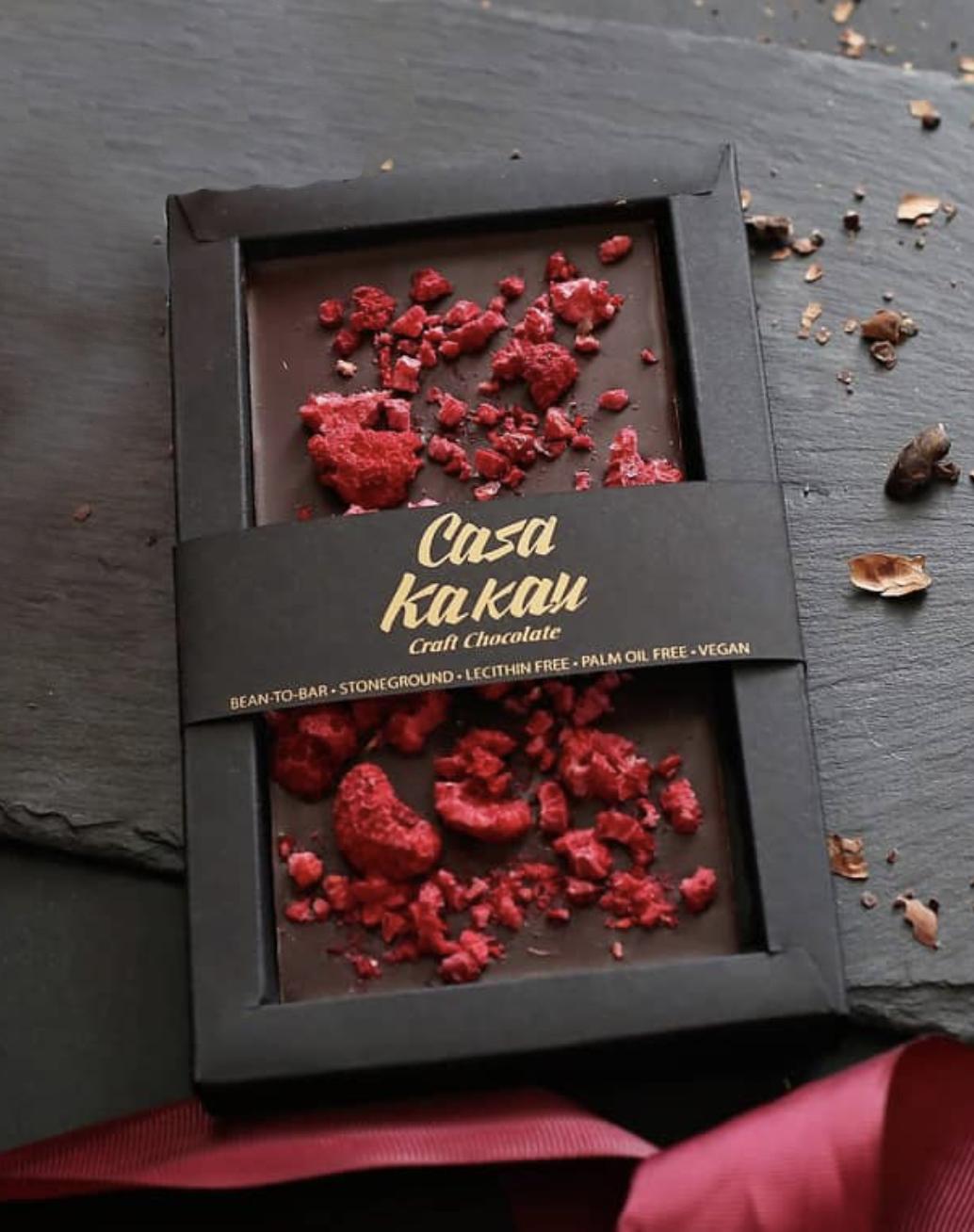 CASA KAKAU | Dunkle Schokolade »Dark & Himbeeren« 63%