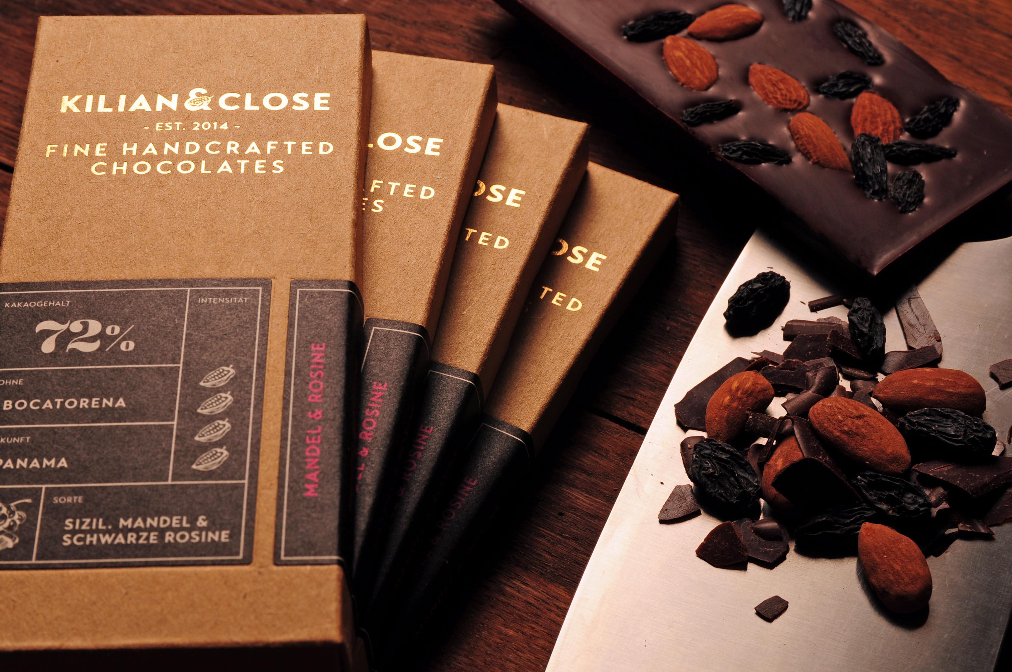 KILIAN & CLOSE | Zartbitterschokolade mit Mandeln & Rosinen 72% | BIO