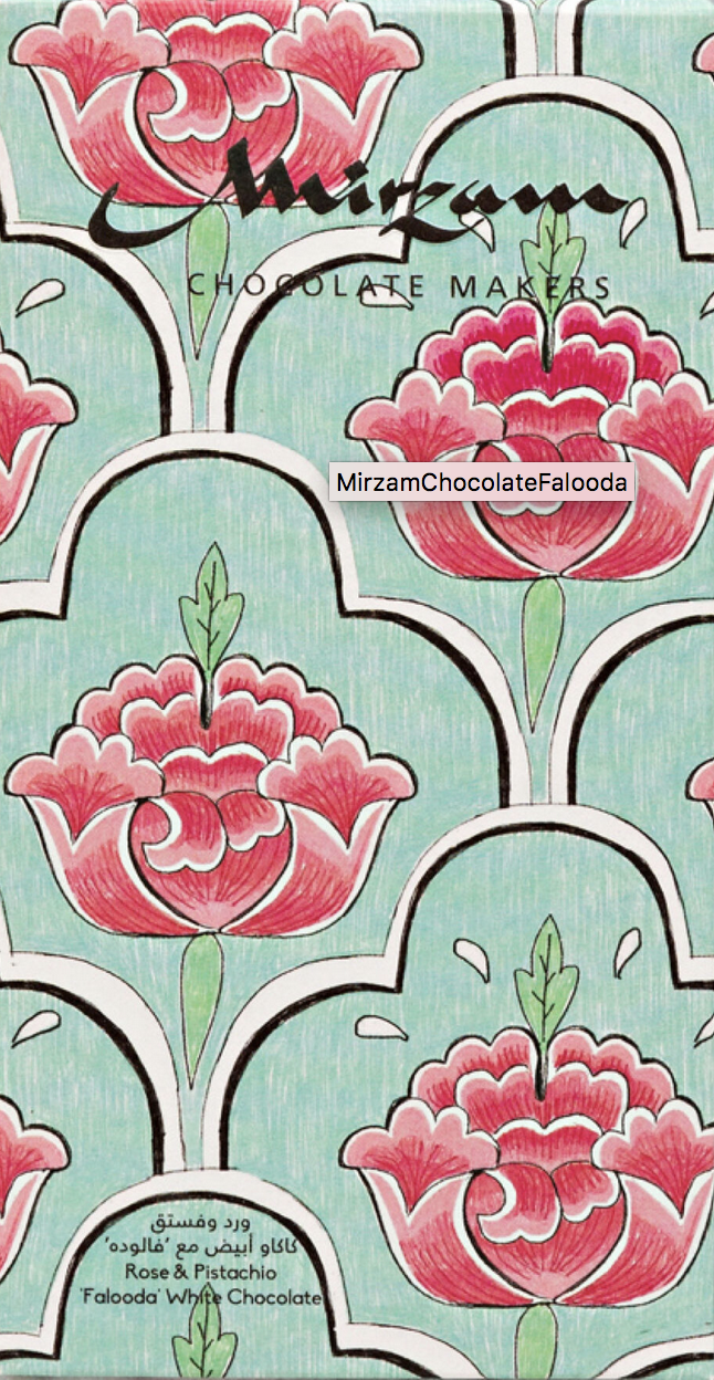 MIRZAM   Weiße Schokolade »Falooda Rose & Pistachio« 70g MHD 31.12.2021