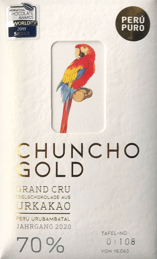 PERÙ PURO | Edelschokolade »Chuncho Gold« 70% Jahrgang 2021