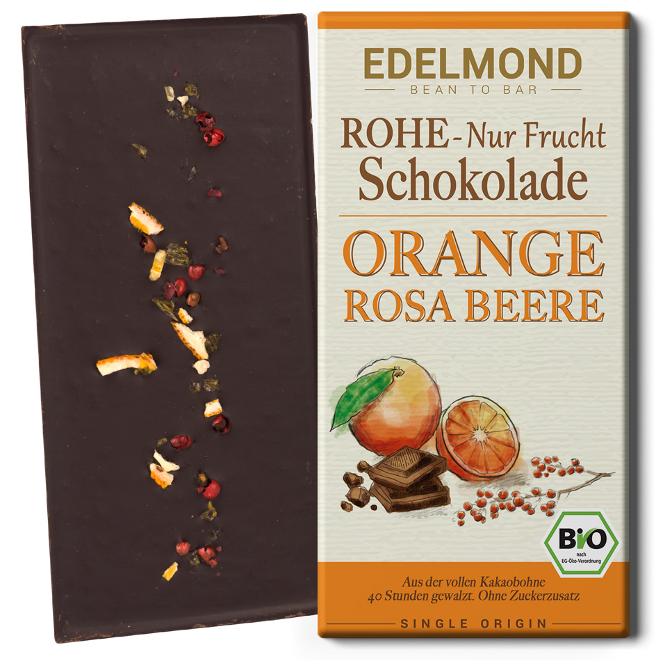 EDELMOND | Dunkle Schokolade »Orange & Rosa Beere« 75% | BIO