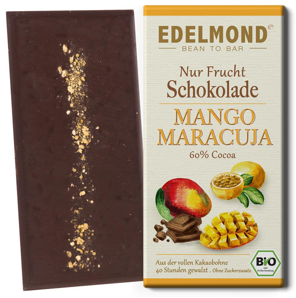 EDELMOND | Dunkle Schokolade »Mango & Maracuja« 60% | BIO