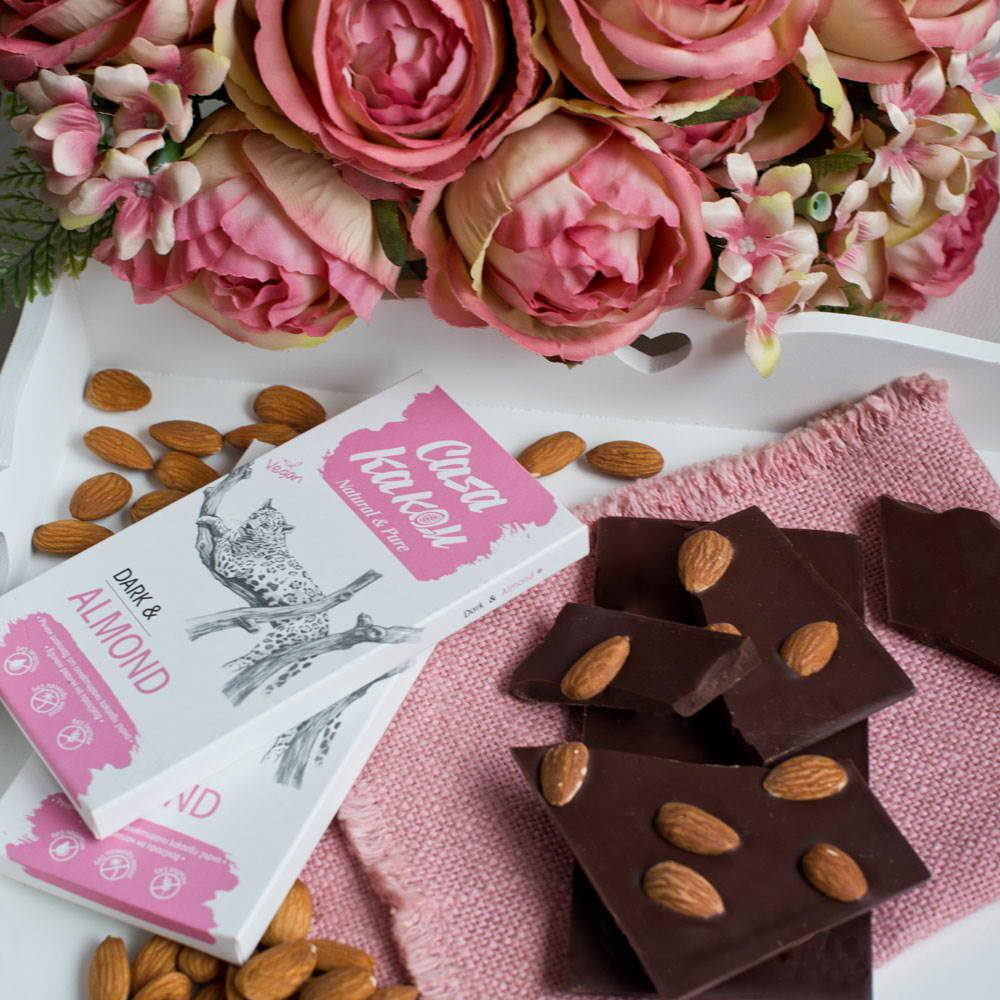 CASA KAKAU | Dunkle Schokolade »Almond & Sea Salt« 66%