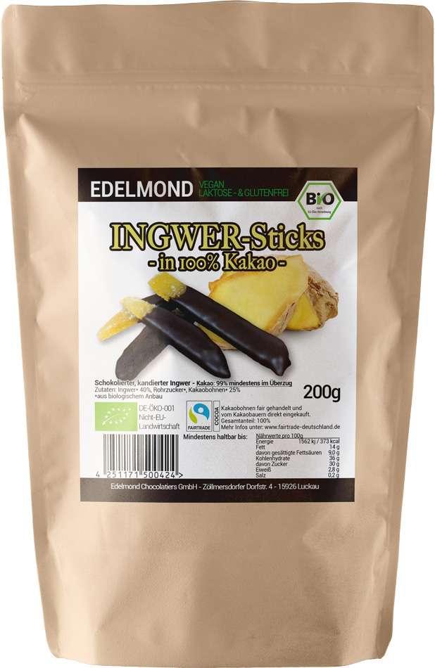 EDELMOND »Ingwer-Sticks in 100% Kakao« 200g   BIO