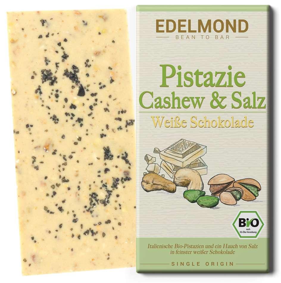EDELMOND | Weisse Schokolade »Pistazie, Cashew & Salz« | BIO
