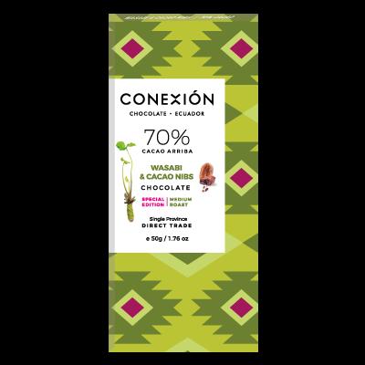 CONEXIÓN Chocolate   Schokolade »Wasabi & Cacao Nibs« 70%