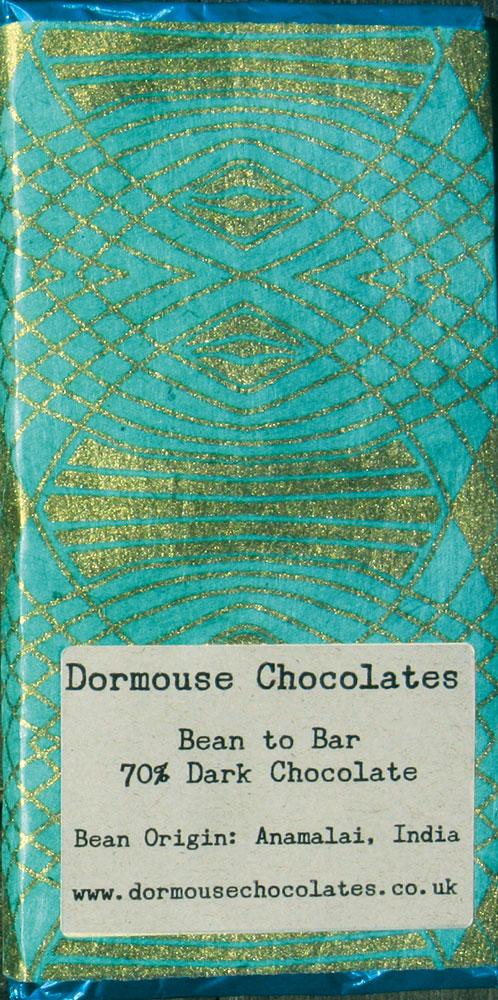 DORMOUSE Chocolates   Schokolade »India - Anamalia« 70% MHD 31.12.2021
